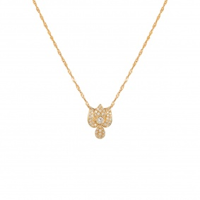 Yellow Gold Diamond Floral Pendant